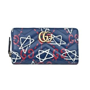 df80ea37adbe Gucci Bags | Blue Ghost Print Leather Zip Around Wallet | Poshmark